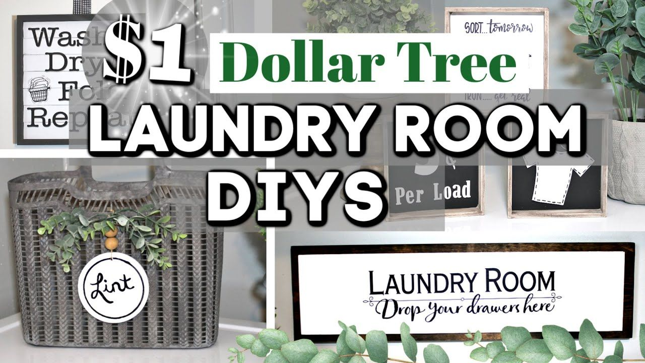 HIGH-END DIY Dollar Tree Laundry Room Decor Ideas | Dollar Tree Farmhouse Decor | Krafts by Katelyn