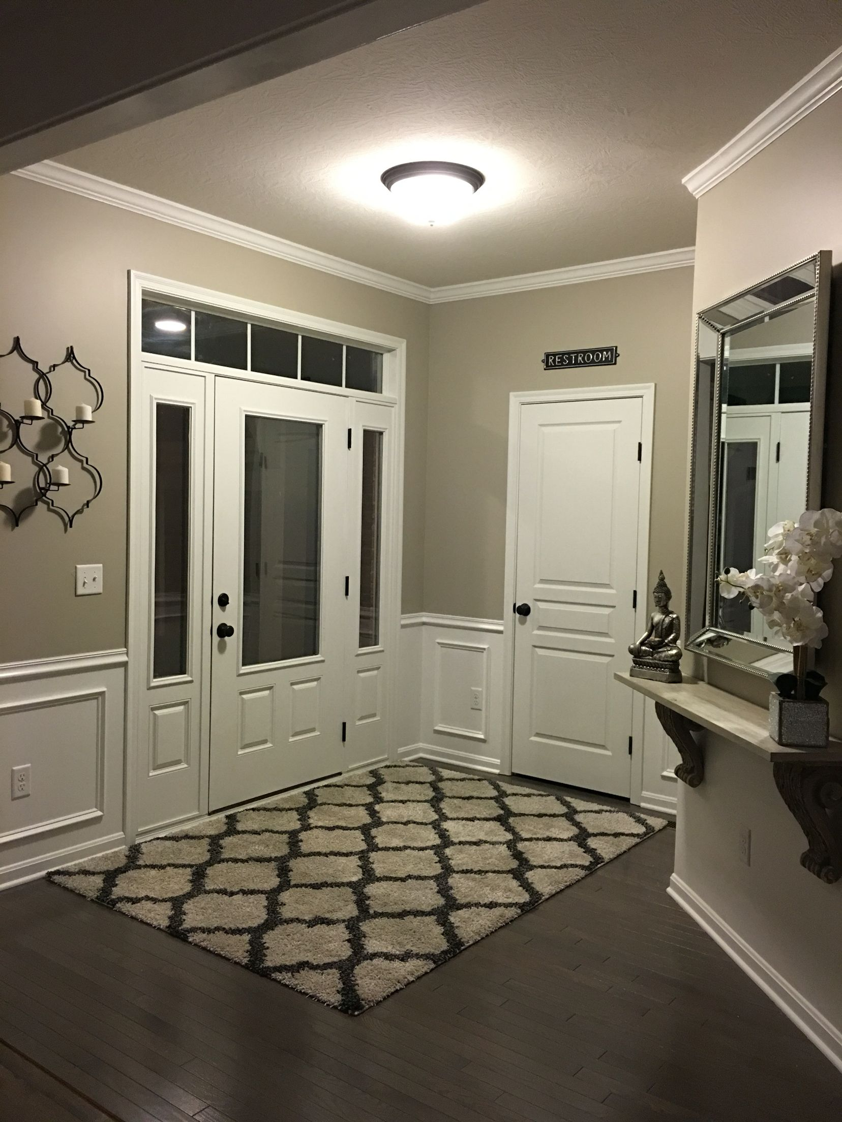 Entryway. Wainscoting. Anew grey Sherwin Williams.   Paint ...