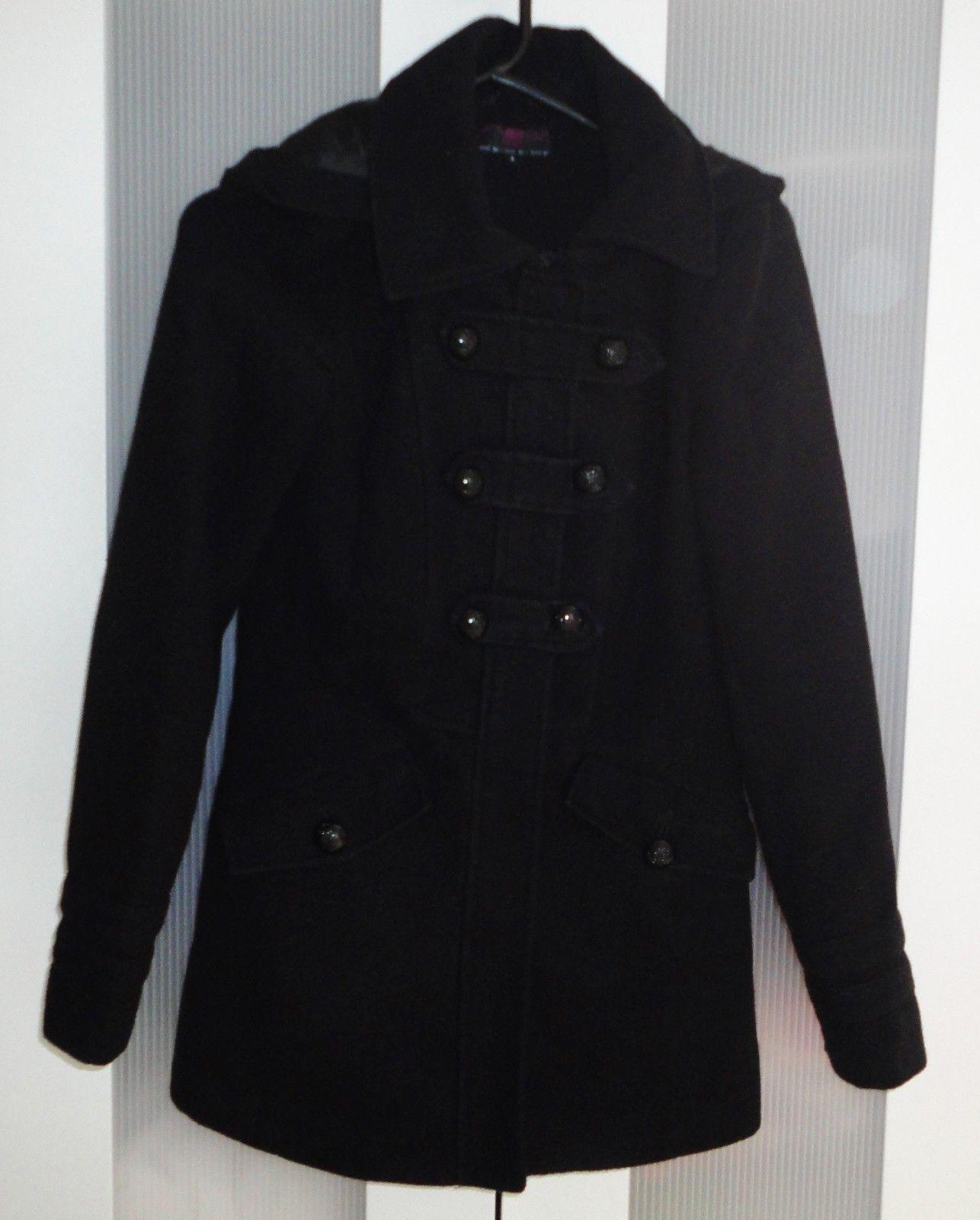 New look black hoodiecollaredzipbutton winter coat womenladies