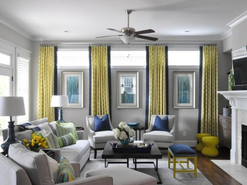 Stylish Yellow Curtain And White Wall Color For Amazing Living Room Ideas  For Small Space