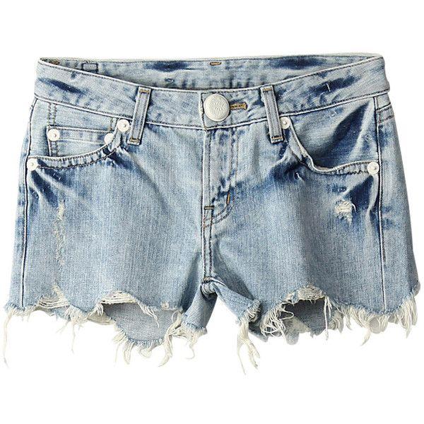【ELLE SHOP】ダメージデニムショートパンツブル-|アウラ アイラ(AULA AILA)|ファッション通販 エル・ショップ (460 BRL) ❤ liked on Polyvore featuring shorts, bottoms, pants, short, aula aila and short shorts