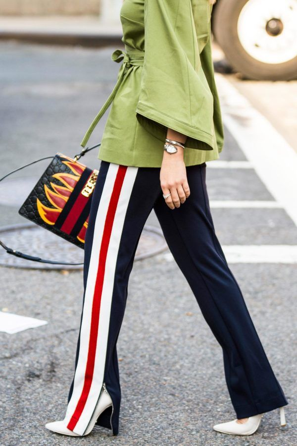 86c2a8fc7de NYFW Street Style is in full force right now.. And we re seeing a definite  trend in wearing sporty track pants along with other on-trend separates.