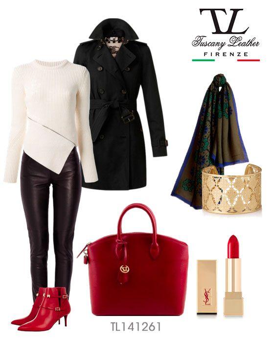 Enjoy your Saffiano Autumn! TL BAG TL141261 #Saffiano leather tote