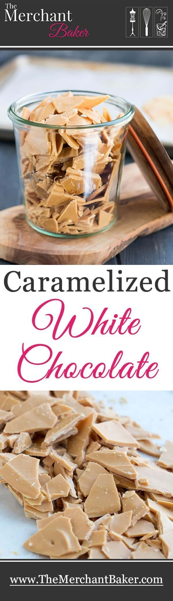 Caramelized White Chocolate Caramelized White Chocolate. Slow roasting turns white chocolate into a delicious caramelized white chocolate. Great to eat on its own or in any recipe that calls for chocolate!