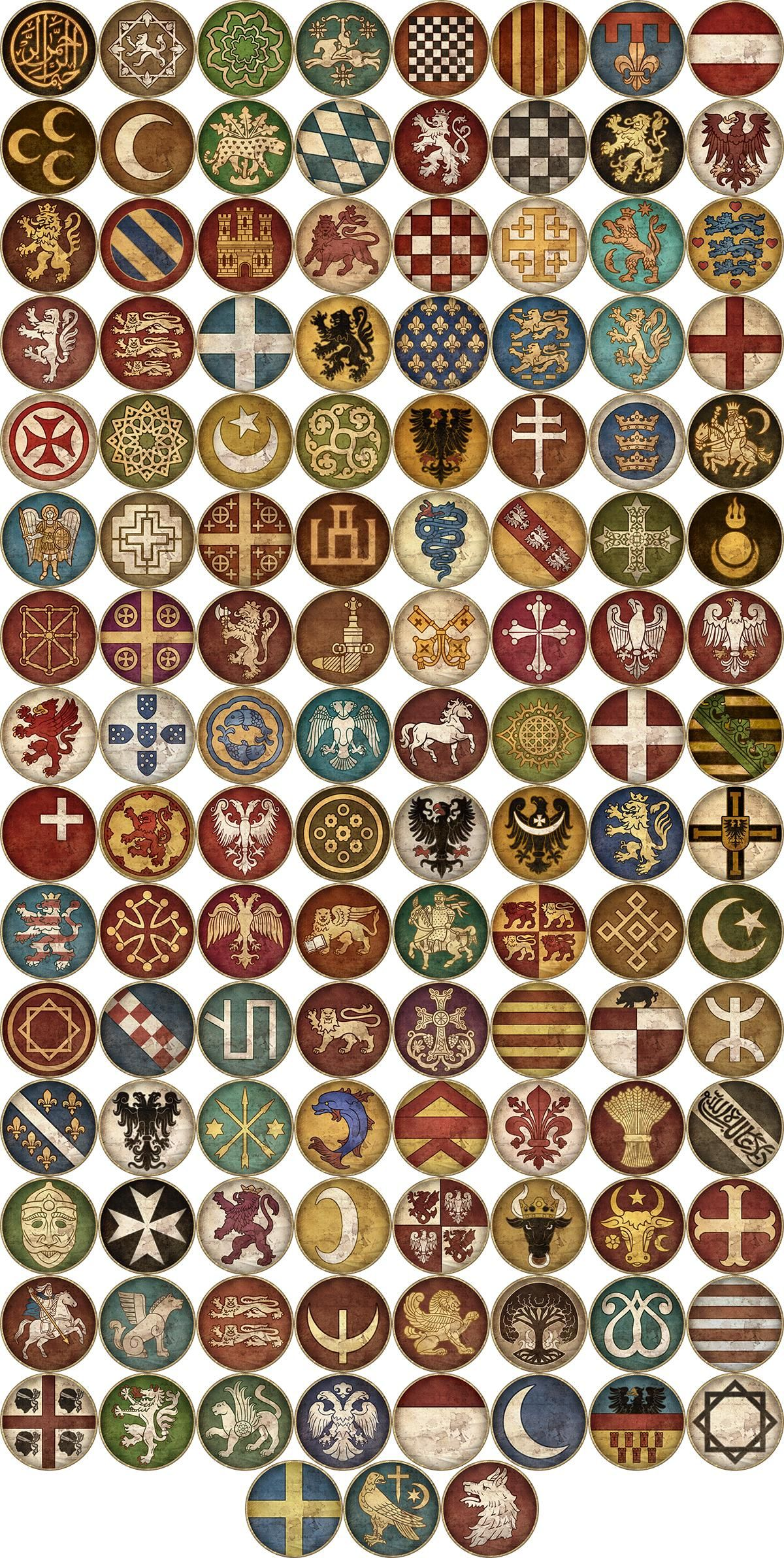 Starting and Emergent Faction Icons Medieval, Total war