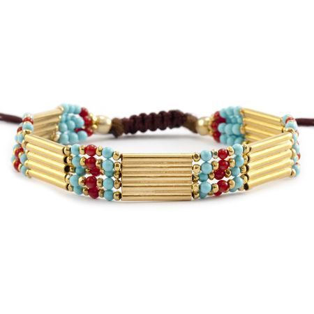 Turquoise Mix Bracelet on Brown Cord