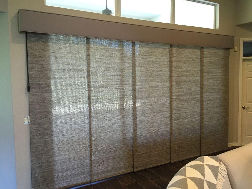 Custom Sliding Panels For Patio Doors. Operates With Wooden Baton. Custom  Fabric Cornice.