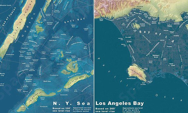 Maps show what major us cities would look like submerged in water human geography freerunsca Image collections