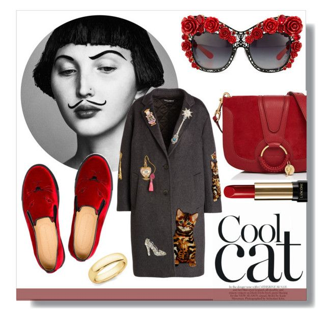 """""""Cool Cat- Oversized Coat"""" by helloyoulala-1 ❤ liked on Polyvore featuring Dolce&Gabbana, Charlotte Olympia, See by Chloé and Lancôme"""