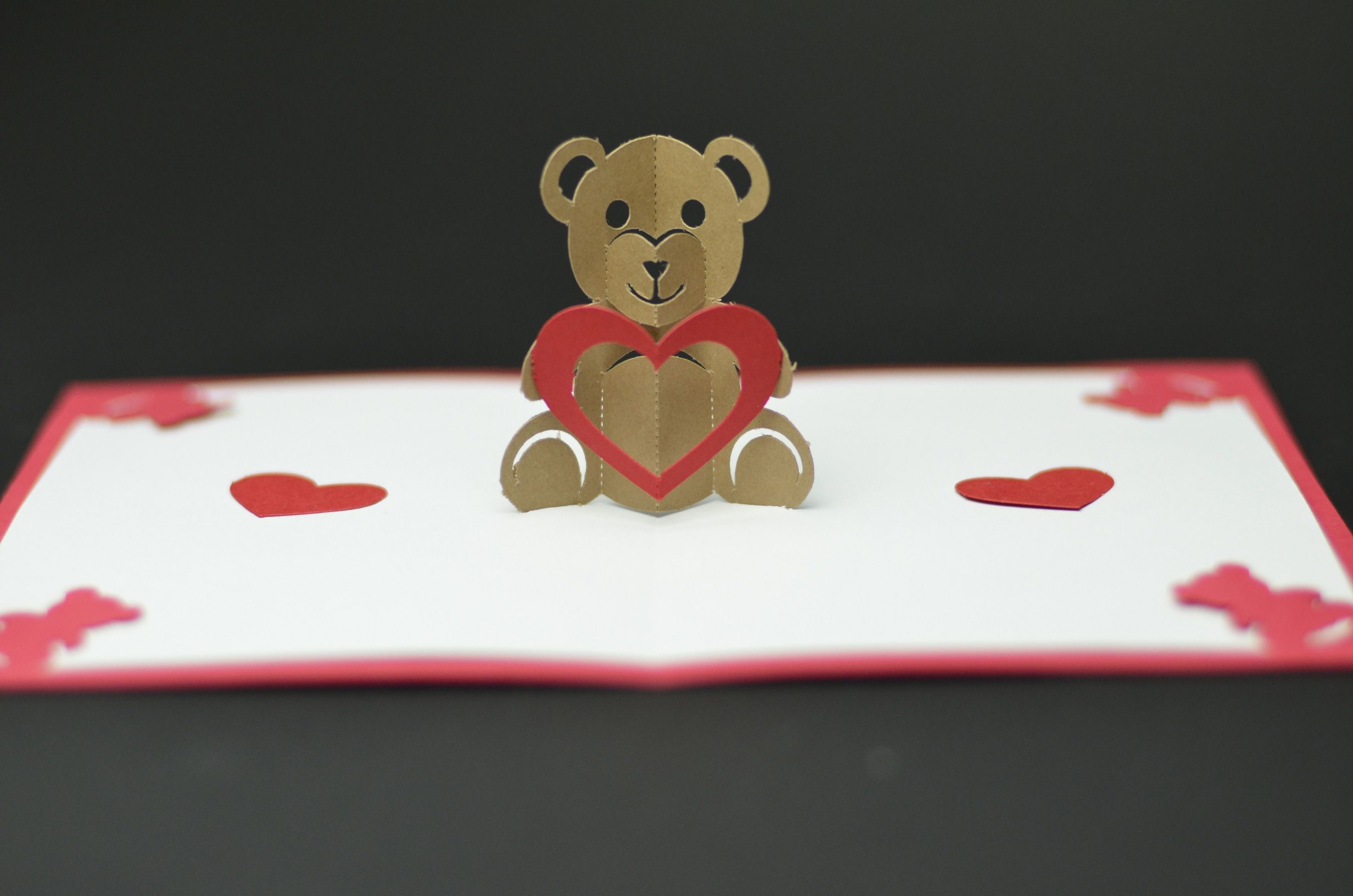 Free Valentines Day Pop Up Card Templates Teddy Bear Tutorial And Template Creative Cards