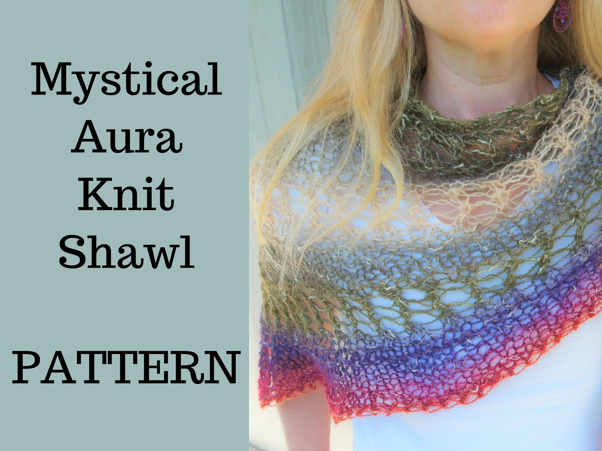 PATTERN - Mystical Aura Knit Shawl - Easy Lace Shawl Pattern by LightandJoyDesigns on Etsy
