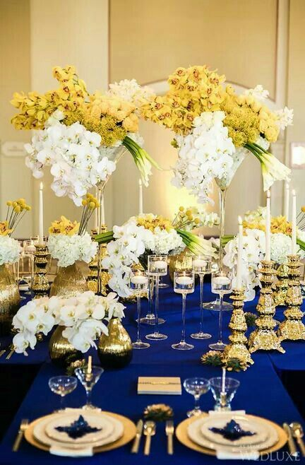 Pin By Janelle Nichole On Oh What A Party Royal Blue Wedding Blue Gold Wedding Blue Themed Wedding