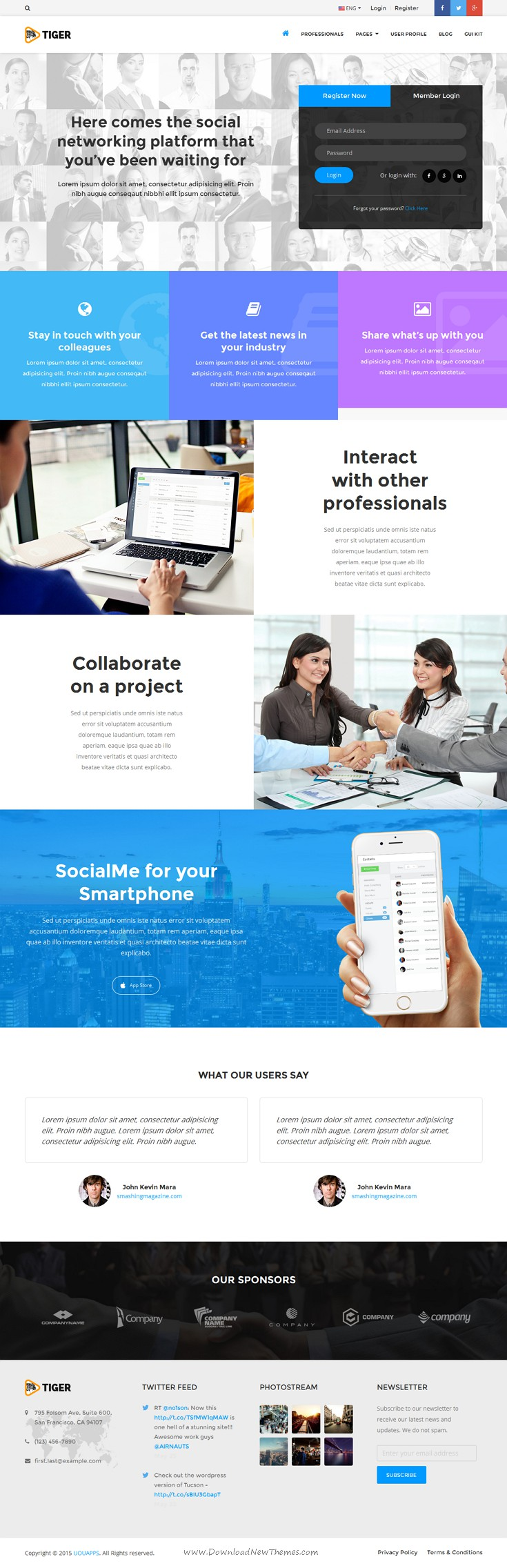 Tiger Is A Corporate Social Network Bootstrap Template That Is Ideal For Connecting Professionals And Companies W Website Inspiration Web Design Social Network