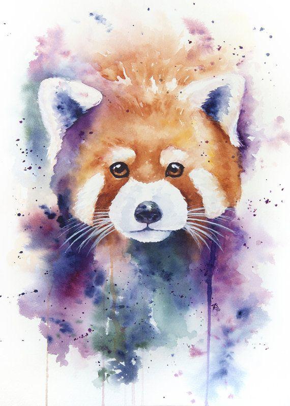 Standard Impression Dart Aquarelle Panda Roux Panda Roux Art De