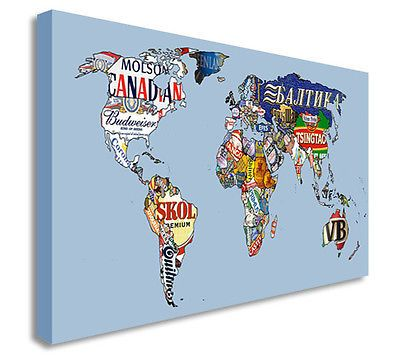 World map beer labels canvas wall art picture canvas art cheap world map beer labels canvas wall art picture canvas art cheap print gumiabroncs Gallery