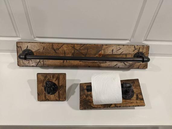 Photo of 3 Piece Set of Industrial Rustic Pipe Bathroom Fixtures: 24″ Towel Bar, Toilet Paper Holder & Hand T