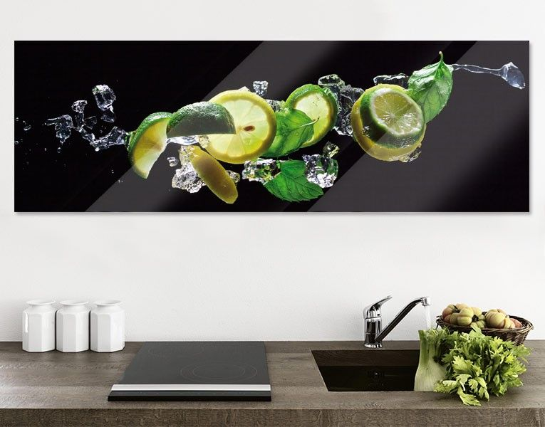 Glasbild Limetten-Zitronen-Mix | Glasbilder, Zitrone und Wandbilder