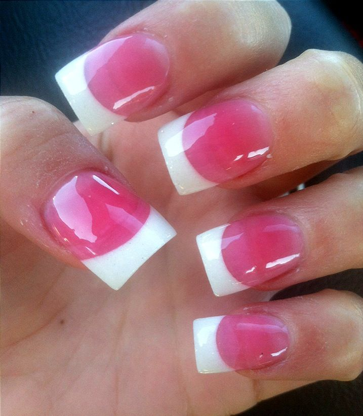 Cute White Tip Nails: French Tip With Dark Pink Powder :)