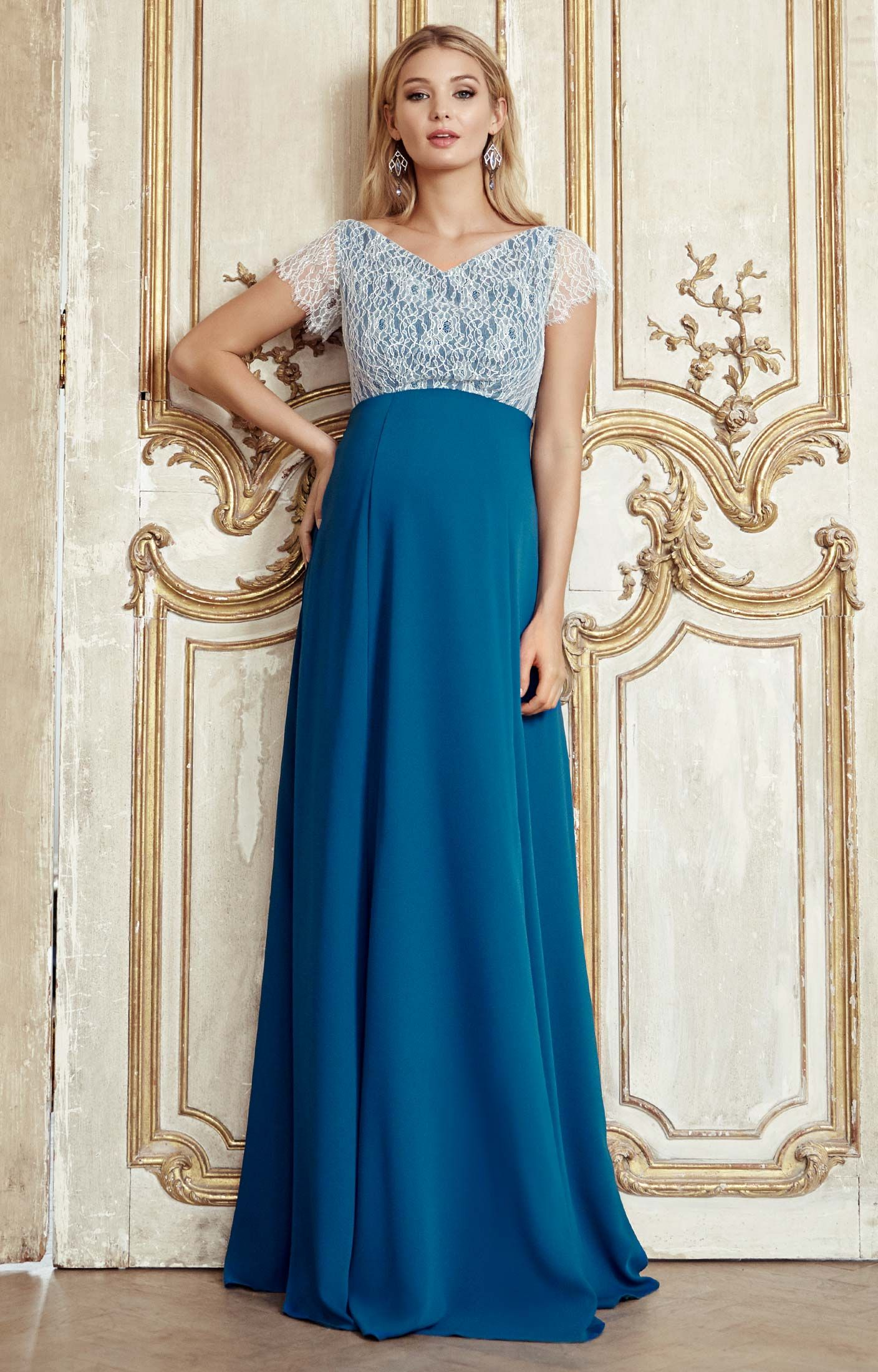 8729e45d0e4 ... Our Eleanor full-length blue-green maternity gown is a magical dress  for any occasion. From the luxurious lace bodice in pale aqua tones to the  dramatic ...