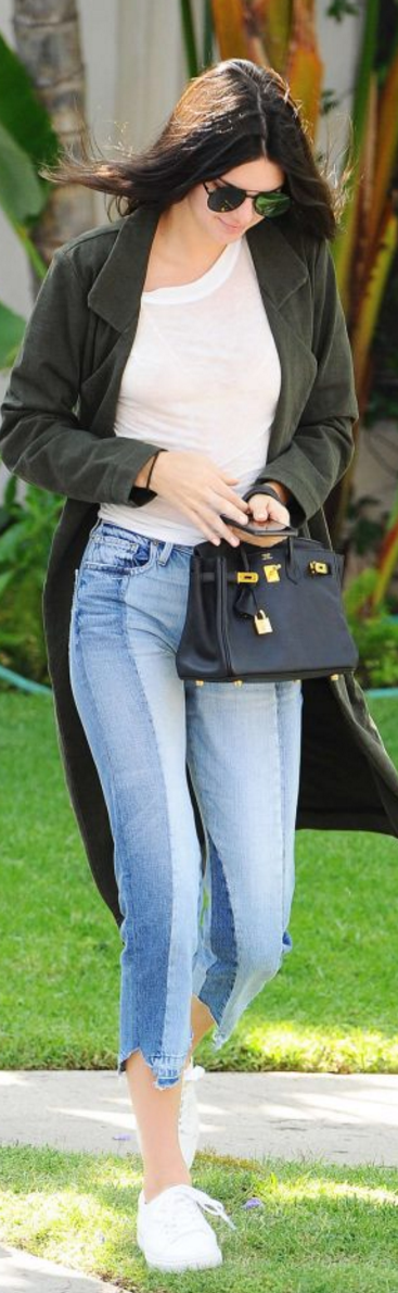 Kendall Jenner wearing Frame Denim, Hermes, Elizabeth and James, Kenneth Cole and Alberta Ferretti