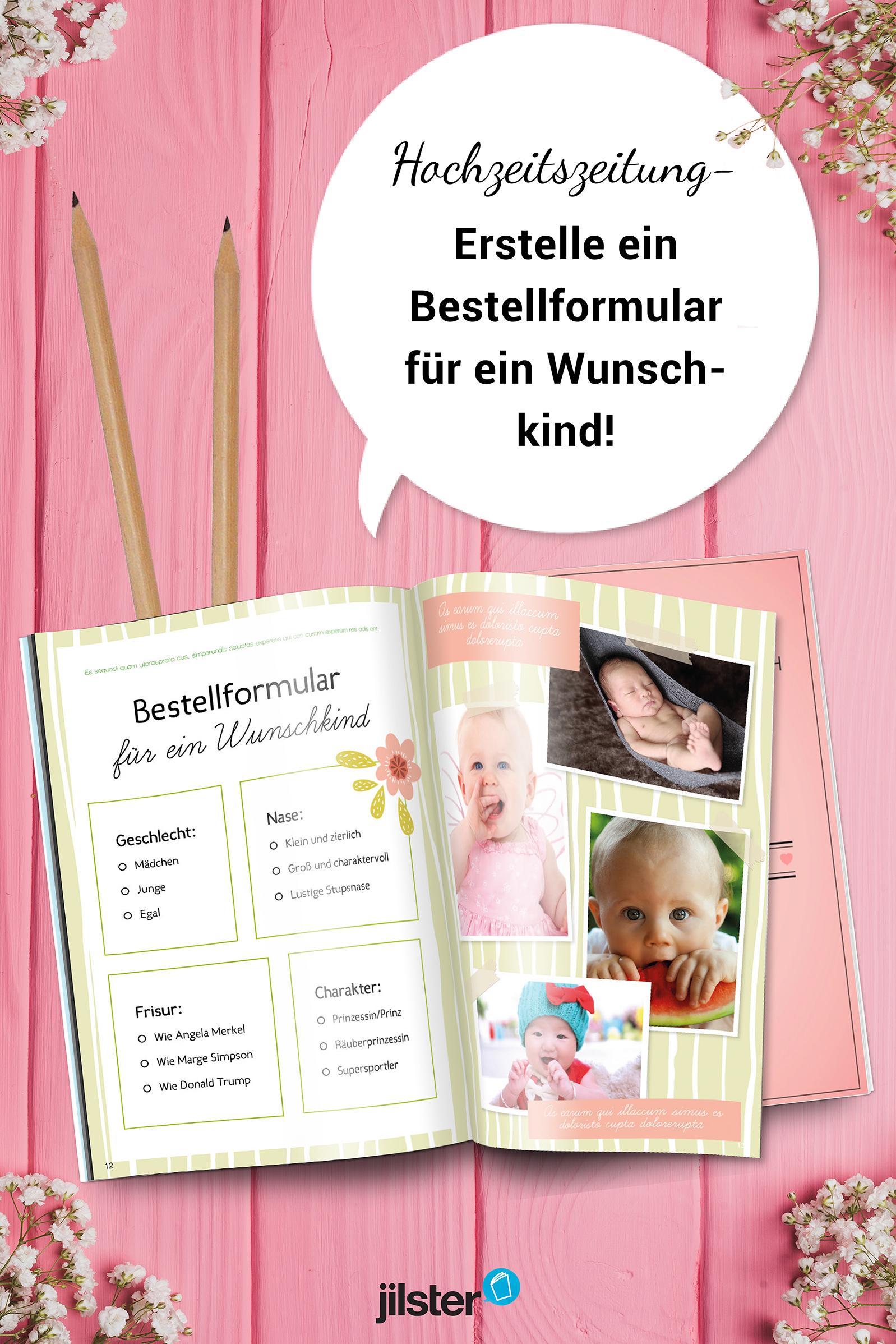 Lustige Hochzeitszeitung: Bestellformular Wunschkind | Pinterest ...