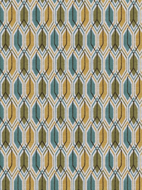 Teal Yellow Geometric Fabric By The Yard   Modern Upholstery Fabric    Geometric Drapery Fabric On