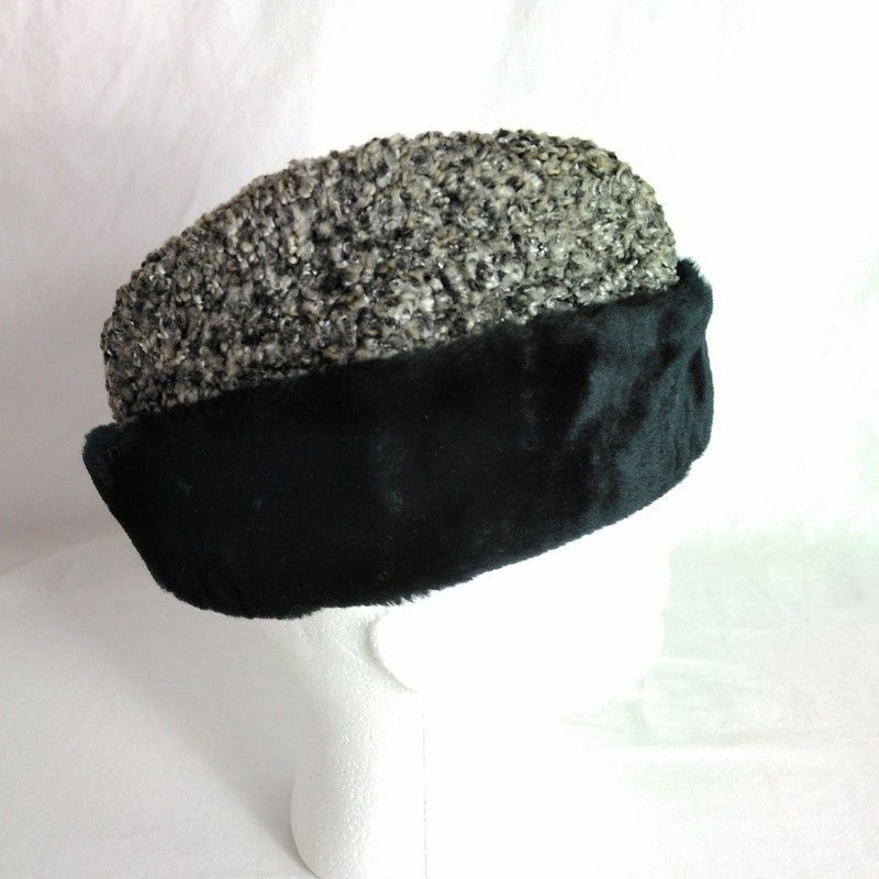 1ae21992d02 VTG Mens Hugger Cap Winter Hat w Ear Flaps Union Made Black Gray Faux Fur  Trim  winter  HuggerCap