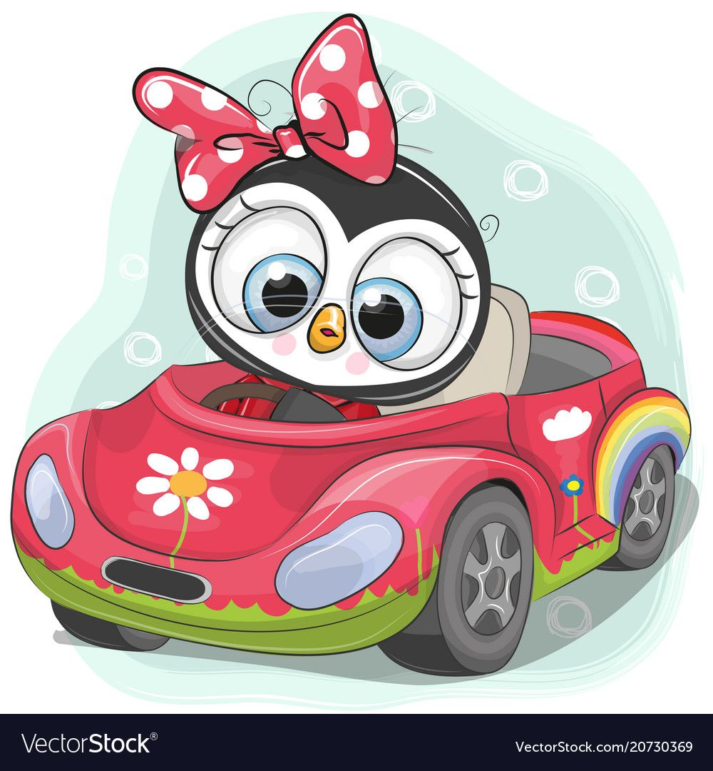 Cute Penguin Girl Goes On The Car Vector Image On With Images