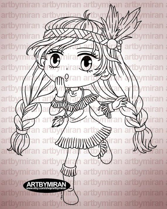 Digital Stamp - Little Indie (#248), Digi Stamp, Coloring ...