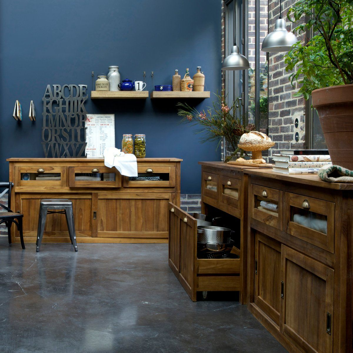 Sol noir murs couleur cuisine ouverte sur salle - Couleur pour salon et salle a manger ...