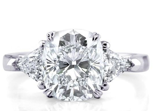 Trillion Side Stones R A In 2019 Cushion Cut Diamond Ring