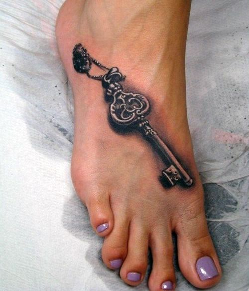 Tatuaże Damskie Na Stopie Klucz Tatuaże Tatuaże Artyści