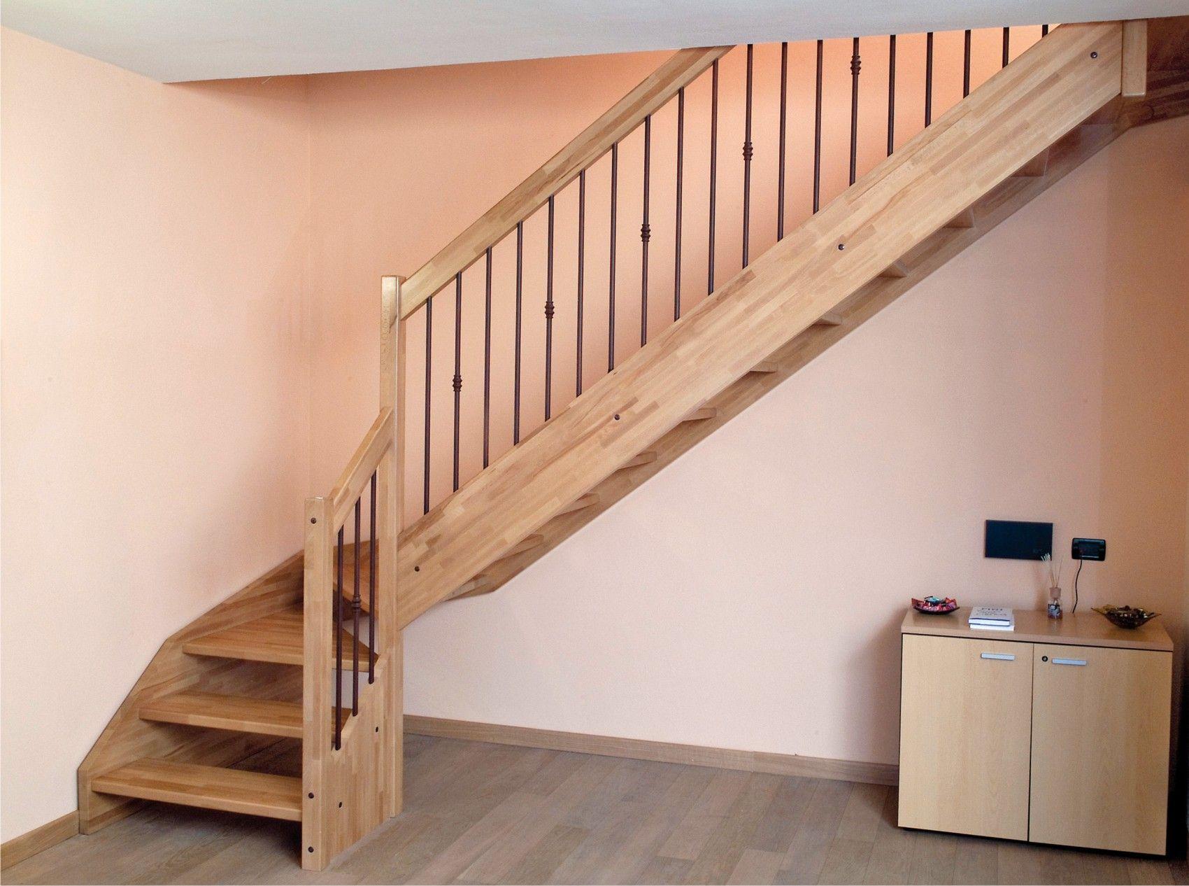 escalier quart tournant en bois avec garde corps acier. Black Bedroom Furniture Sets. Home Design Ideas