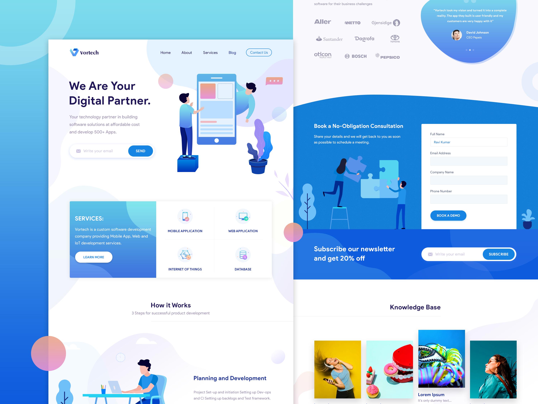 Vortech Landing Page In 2020 Corporate Web Design Landing Page Portfolio Web Design