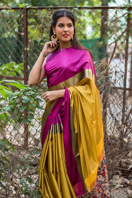 e8e969a875 Honey mustard soft cotton silk saree with purple and dull gold border and  Kalamkari pallu detailing #saree #blouse #houseofblouse #indian #bollywood  #style ...