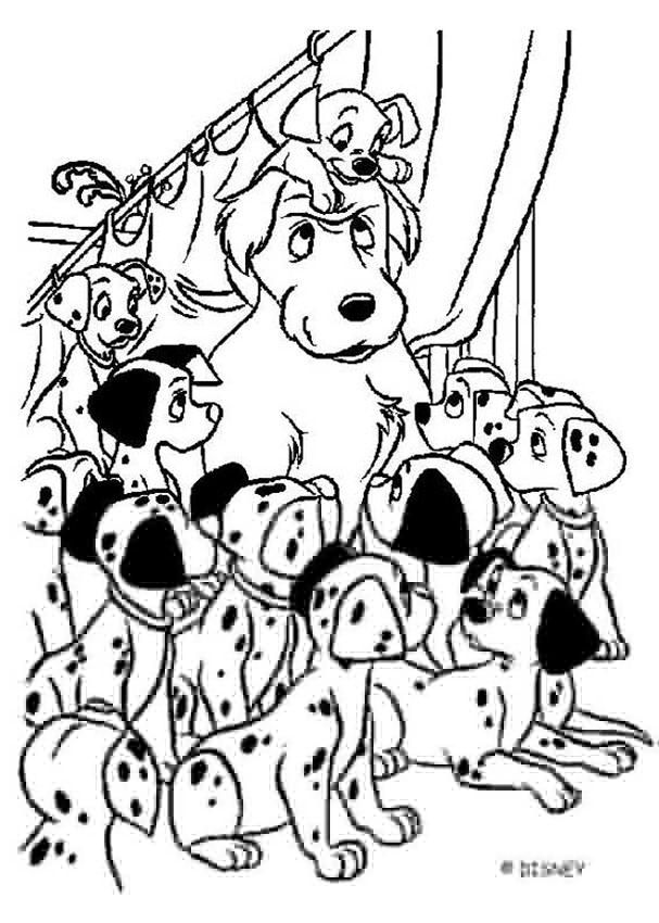 Color this adorable 101 dalmatians coloring page of all the babies ...