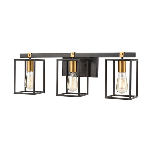 Photo of Elk Lighting 46632/3 Cloe three-light basin lamp in matt black / brushed brass, industrial | Bellacor