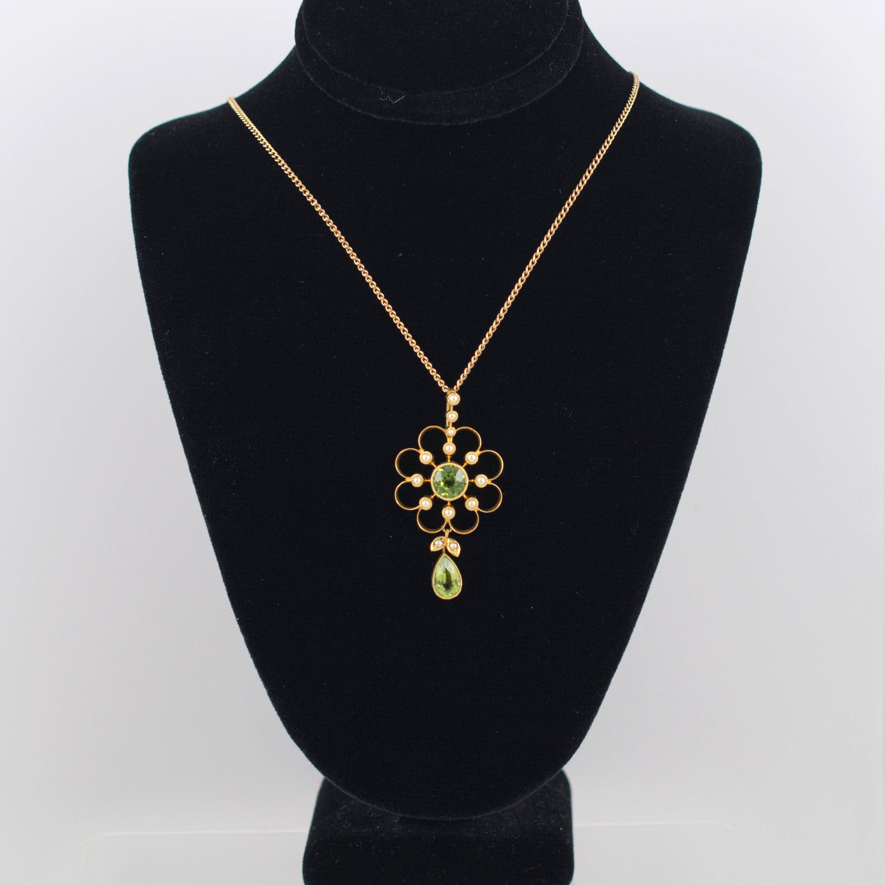 15ct gold pendant peridot pearl antique peridot lavalier pendant 15ct gold pendant peridot pearl antique peridot lavalier pendant vintage aloadofball Image collections