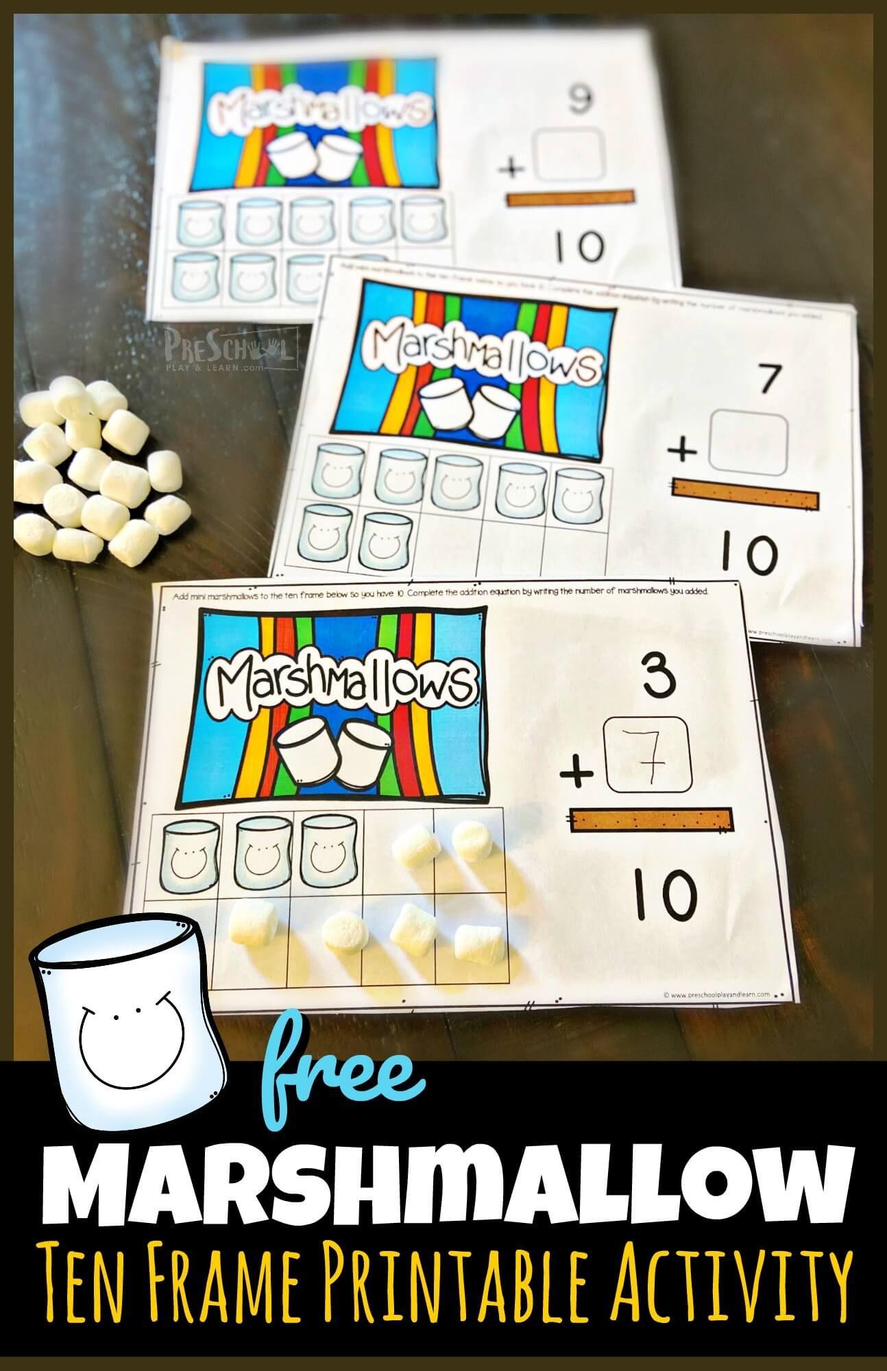 Free Marshmallow Ten Frame Printable Activity In