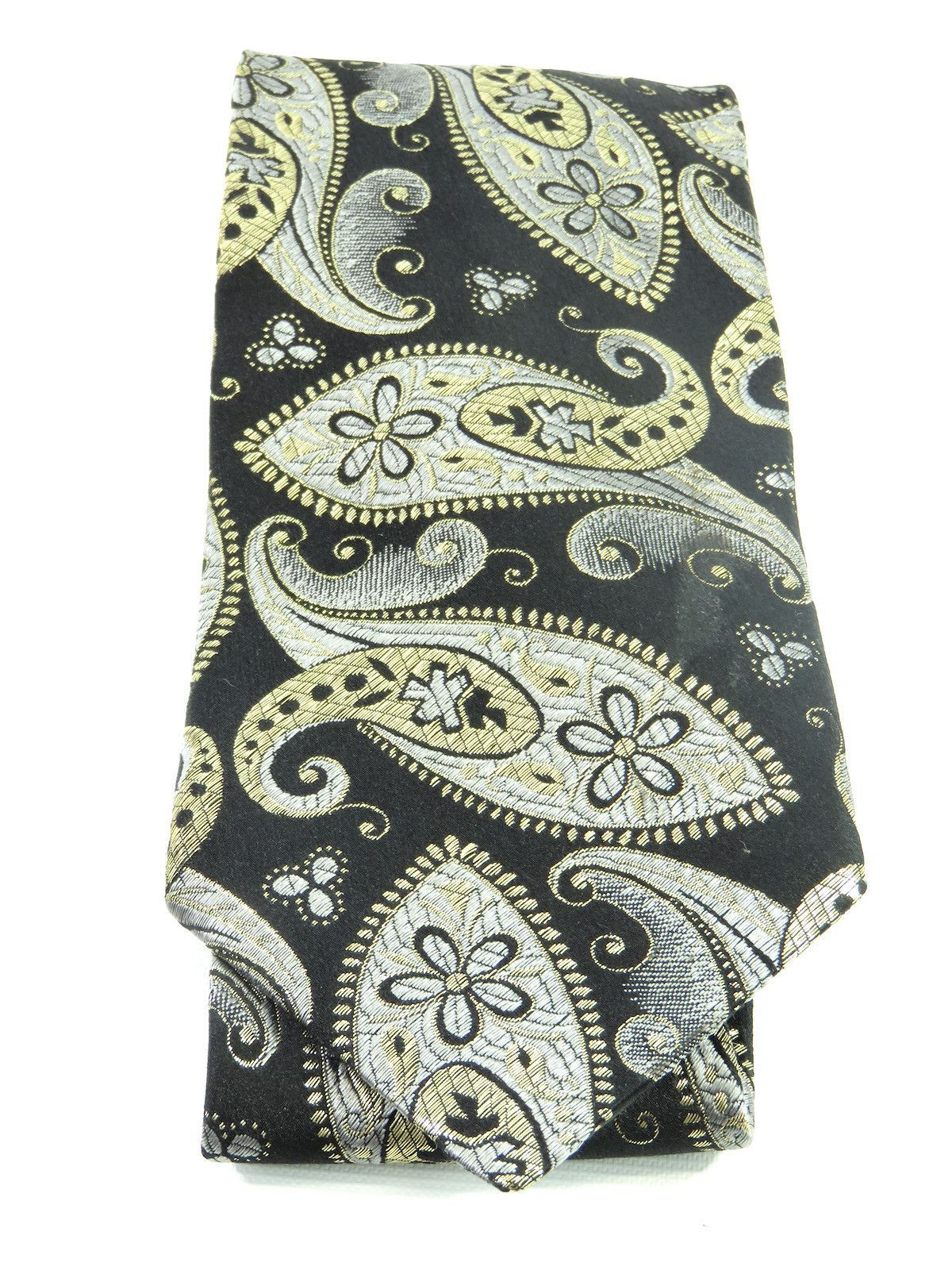 b7bd90988f68 BRIONI Men Black REAL 24K Gold Thread Silver Paisley Pattern Neck Tie  Accessory
