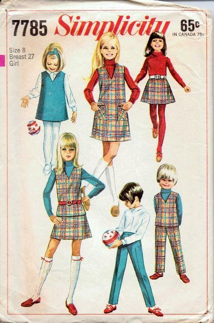 Simplicity 7785 Girls Jumper Dress Top Skirt Pants Vintage 60\'s ...