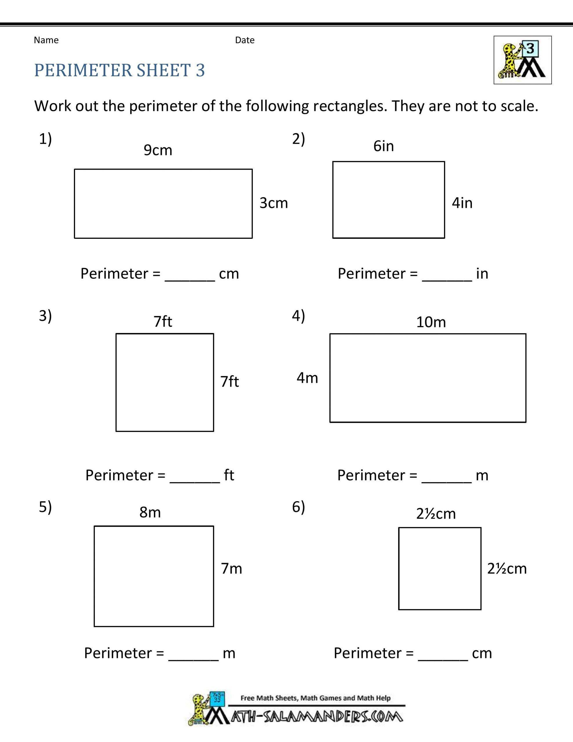 Perimeter Worksheets 3rd Grade In