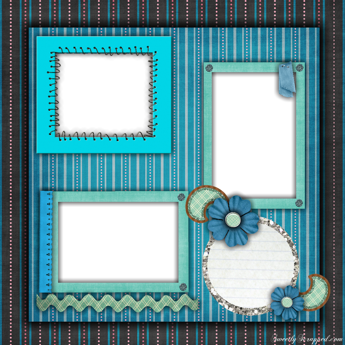 Free printable scrapbook layouts blue and stripes layout for Templates for scrapbooking to print