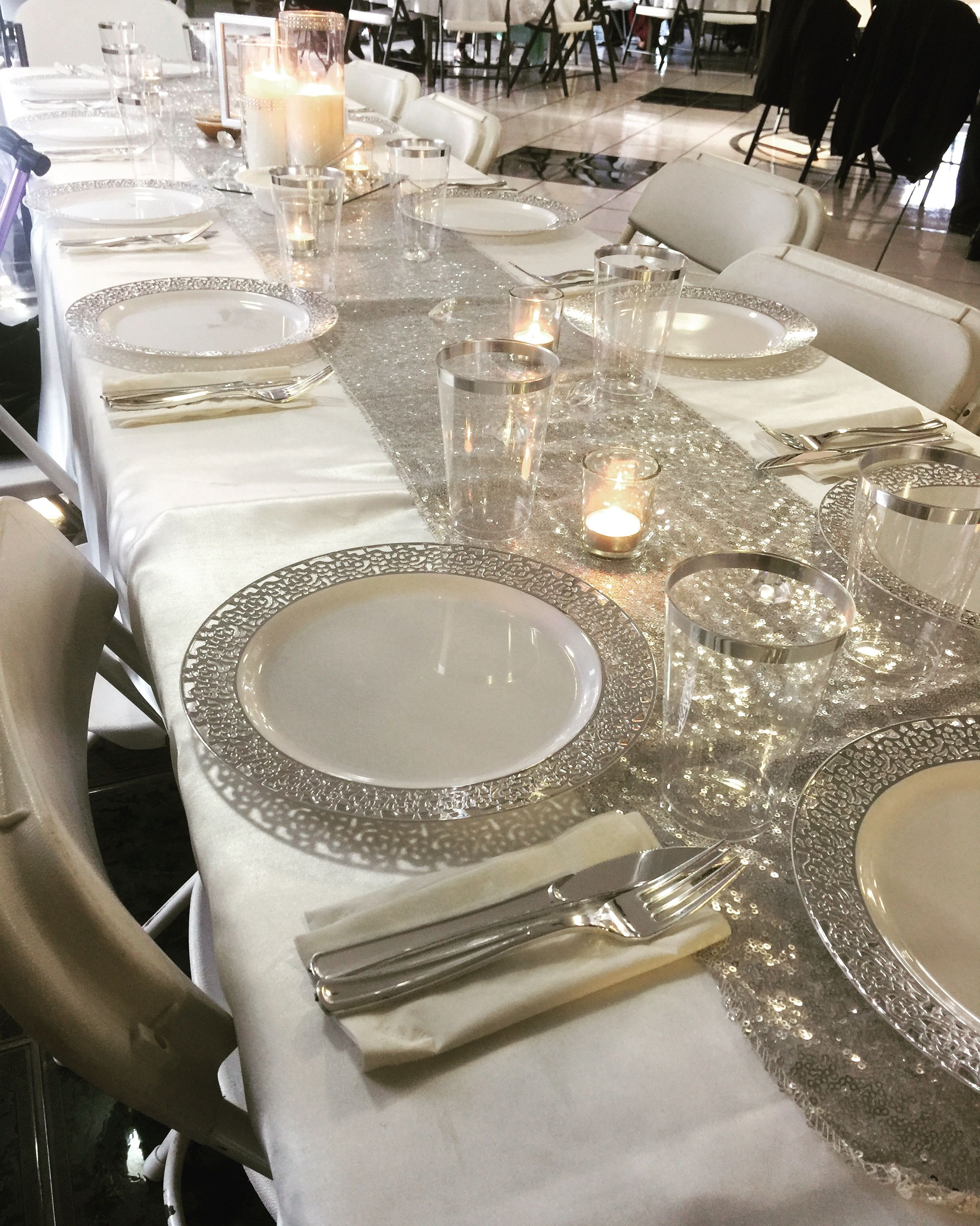 Silver Fancy 80th Birthday Decor Table Decorations Table Settings