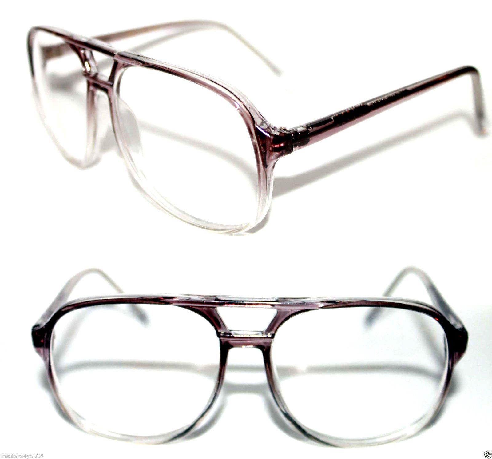 true vintage nerd aviator glasses super round shape geek brown clear super 470 ebay - Ebay Glasses Frames