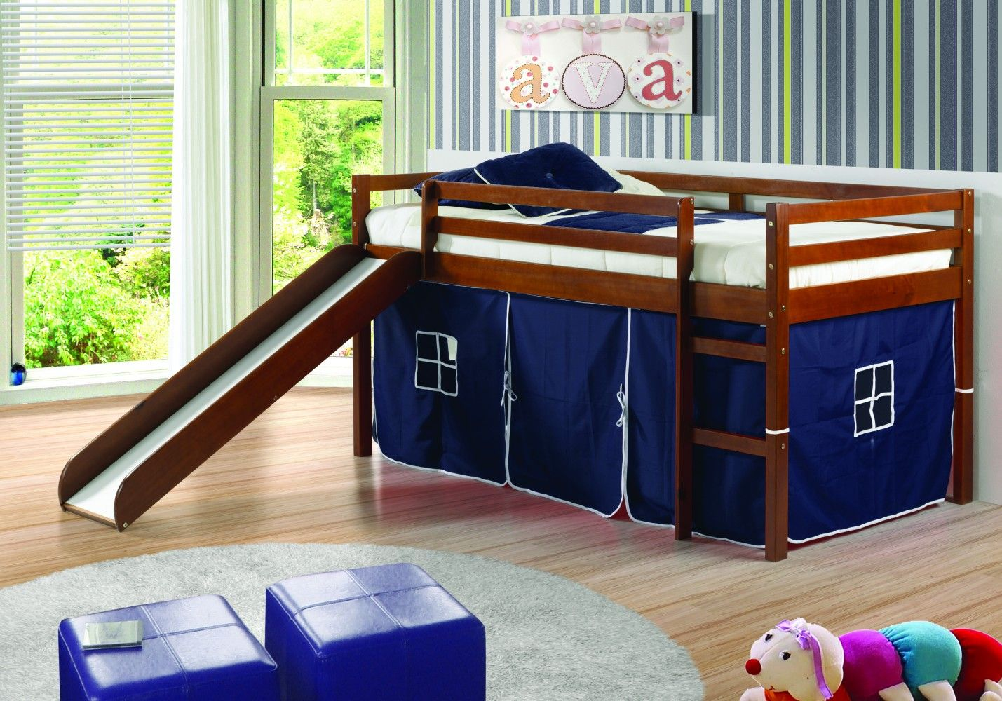 Twin Tent Loft Bed with Slide in Blue/Light Espresso by