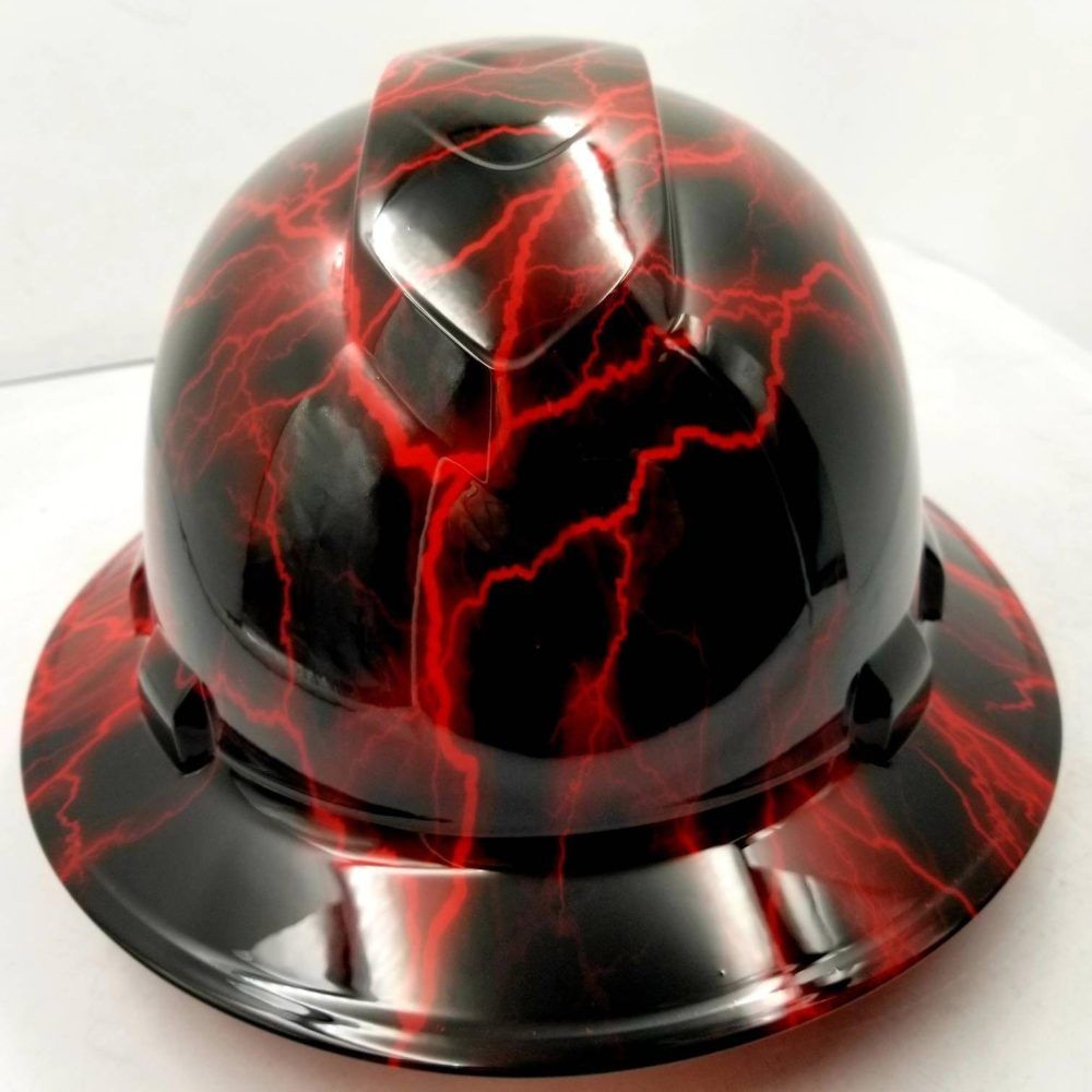LIGHTNING STRIKE RED Hydrographic Full Brim Safety Hard