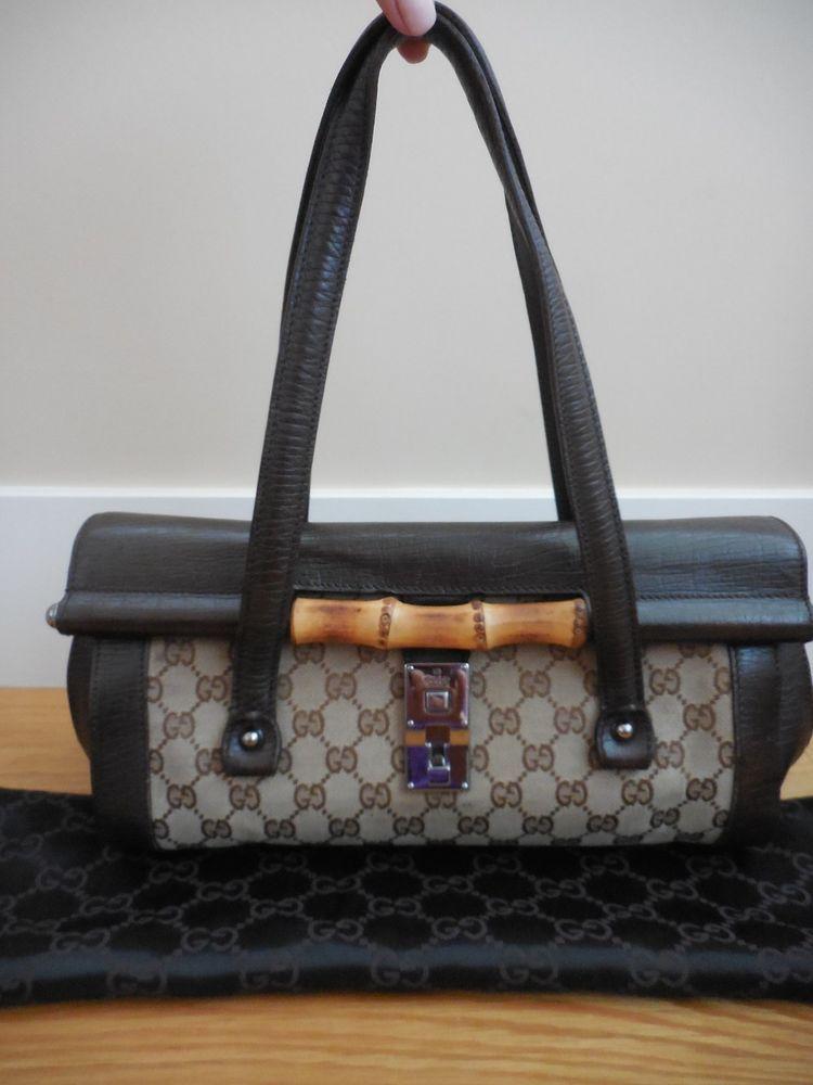 4de7905a91c GUCCIMonogram GG Logo Canvas Brown Leather BULLET Bamboo Flap HandbagDust  Bag!  fashion  clothing  shoes  accessories  womensaccessories   handbagaccessories ...