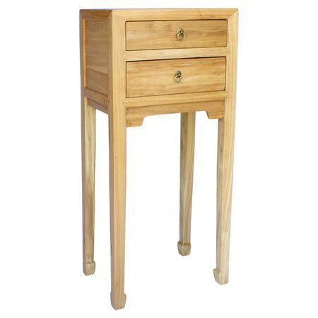 Handcrafted wood end table with a 2 drawers and iron pulls.  Product: DresserConstruction Material: Wood