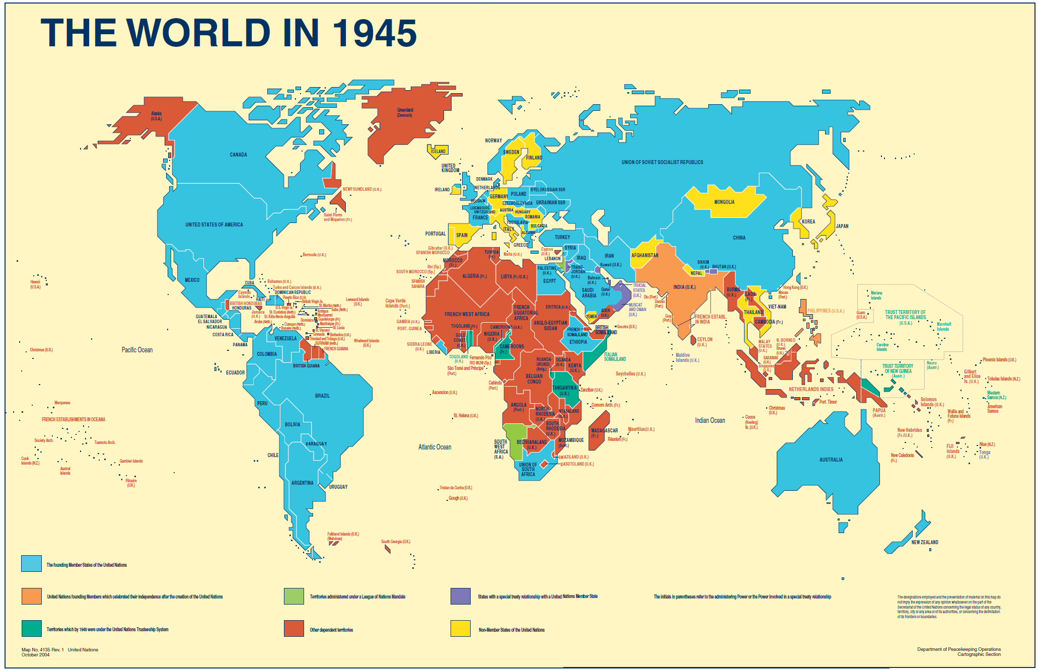 The world in 1945 map by un map ww2 interesting maps pinterest the world in 1945 map by un map ww2 gumiabroncs Gallery